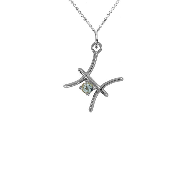 Pisces Zodiac March Birthstone Genuine Aquamarine Pendant Necklace in Sterling  Silver