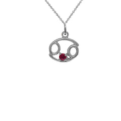 Cancer Zodiac July Birthstone Genuine Ruby Pendant Necklace in Sterling  Silver