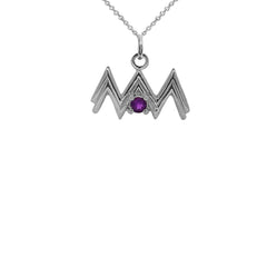 Aquarius Zodiac & February Birthstone Genuine Amethyst Pendant/Necklace in Sterling Silver
