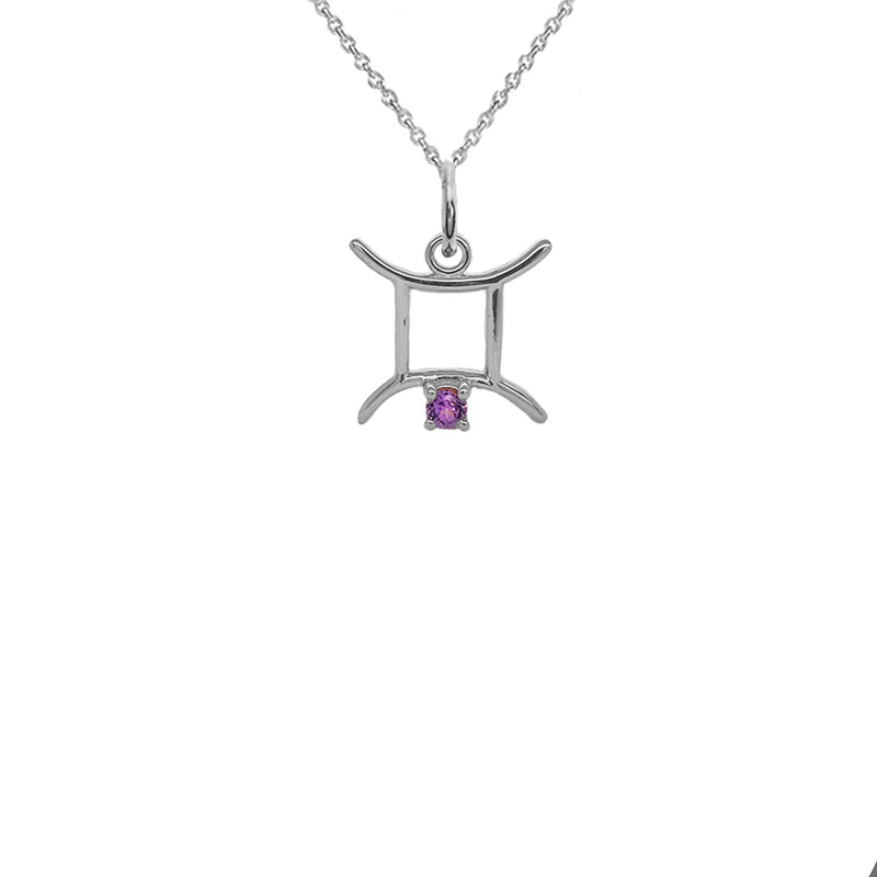 Gemini Zodiac & June Birthstone Genuine Alexandrite Pendant/Necklace in Sterling Silver
