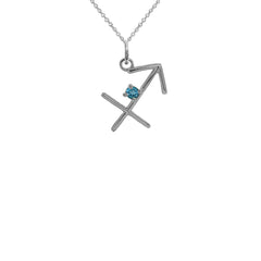 Sagittarius Zodiac & December Birthstone Genuine Topaz Pendant/Necklace in Sterling Silver