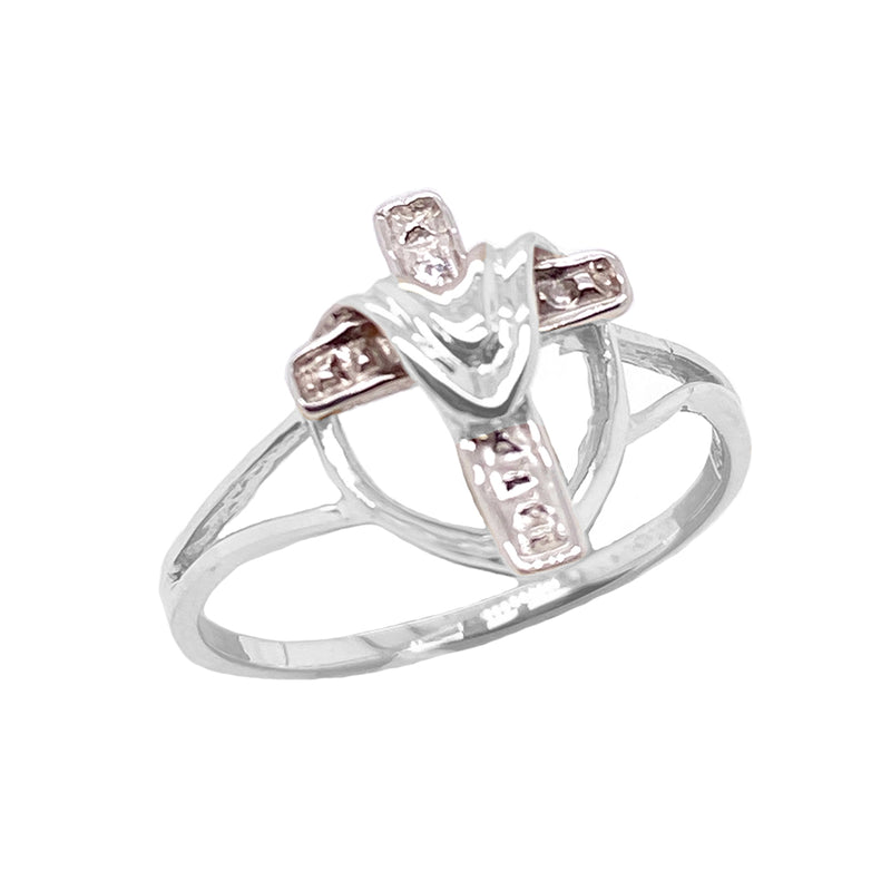 Diamond Cloaked Cross Statement Ring in Solid White Gold