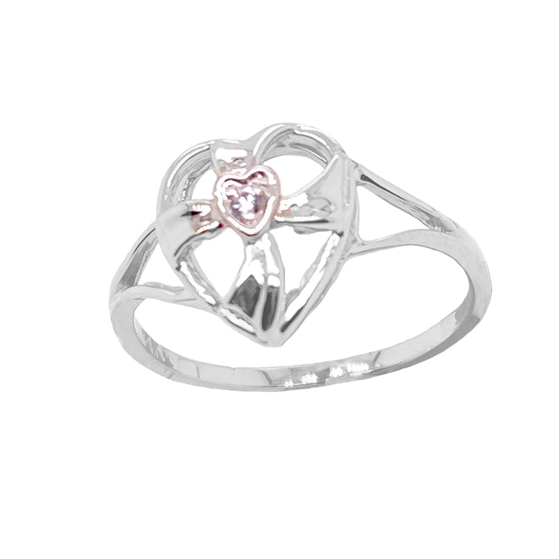 Solitaire Diamond Open Heart Cross Ring in Sterling Silver