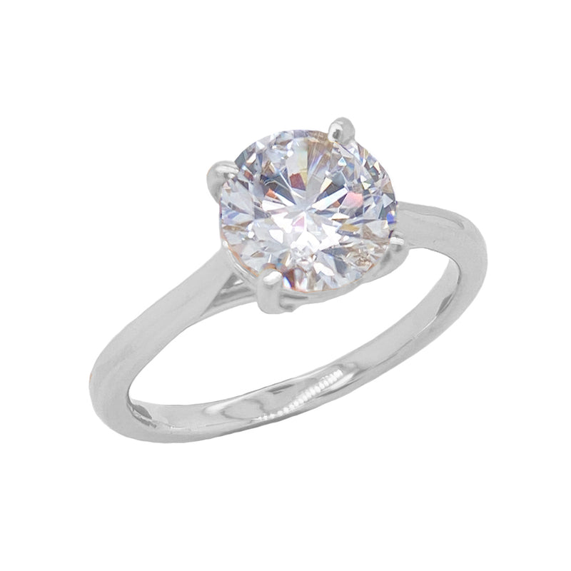 Dainty Solitaire CZ Rope Engagement Ring in Solid White Gold (Large Size)