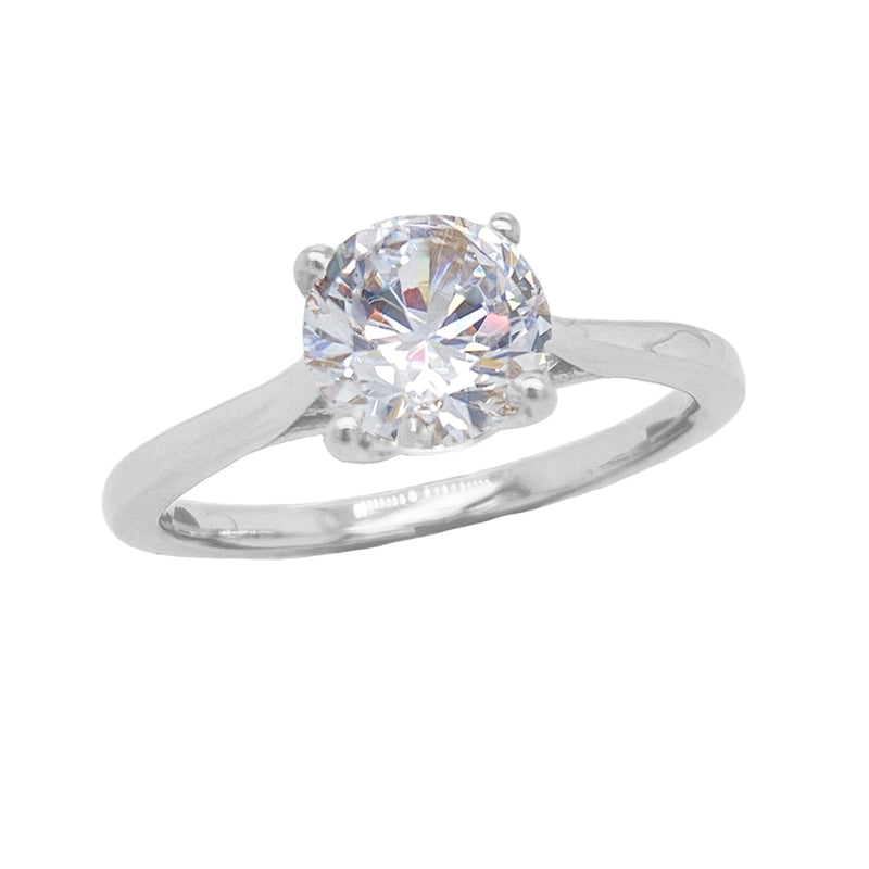 cubic zirconia solitaire ring white gold