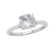 Dainty Solitaire CZ Rope Engagement Ring in Solid Sterling Silver (Medium Size)