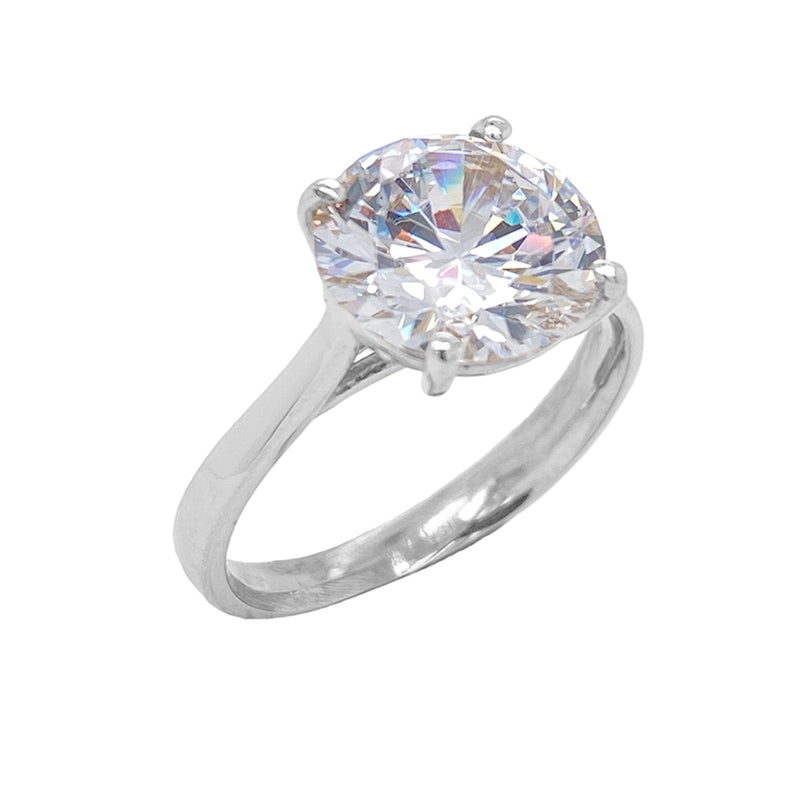 Dainty Solitaire CZ Engagement Ring in Solid Sterling Silver (XX-Large Size)