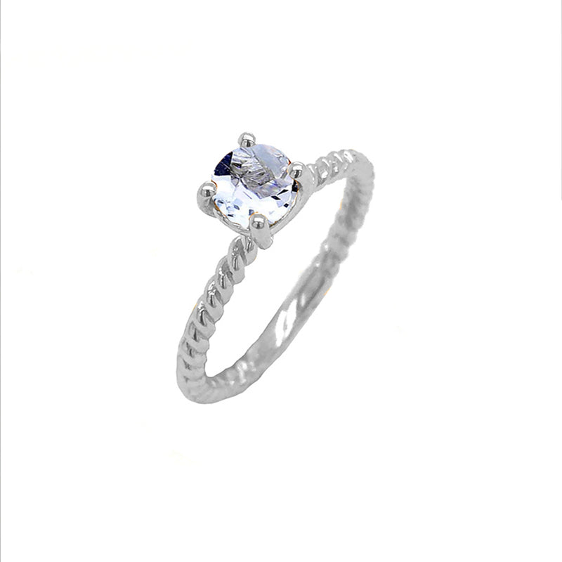 Dainty Solitaire Genuine Aquamarine Rope Engagement Ring in White Gold