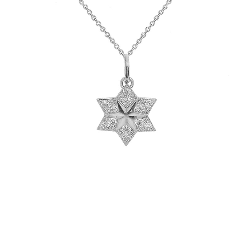 CZ Jewish Star of David Pendant Necklace in Sterling Silver