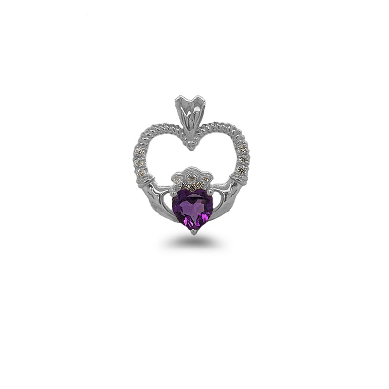 Claddagh Heart Diamond & Genuine Amethyst Rope Pendant/Necklace in Solid Gold