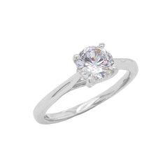 Dainty Solitaire CZ Rope Engagement Ring in Solid White Gold (Small Size)
