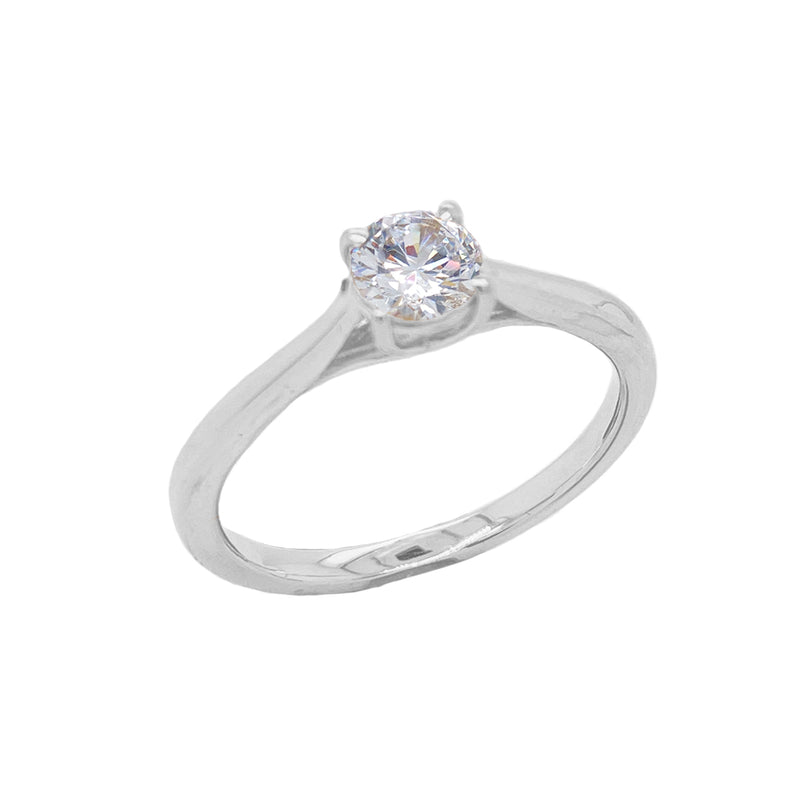 Dainty Solitaire CZ Rope Engagement Ring in Solid White Gold(X-Small Size)