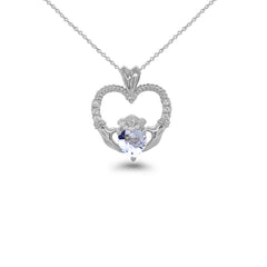 Claddagh Heart Diamond & Aquamarine Stone Rope Pendant/Necklace in Sterling Silver