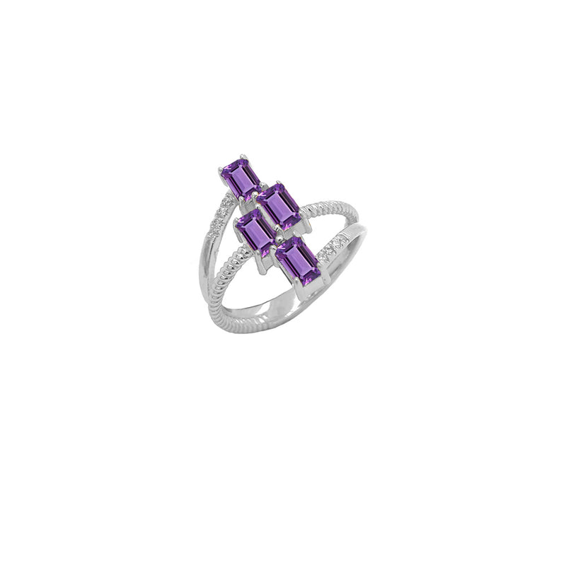 Sterling Silver Diamond & Emerald Cut Genuine Amethyst Rope Statement Ring