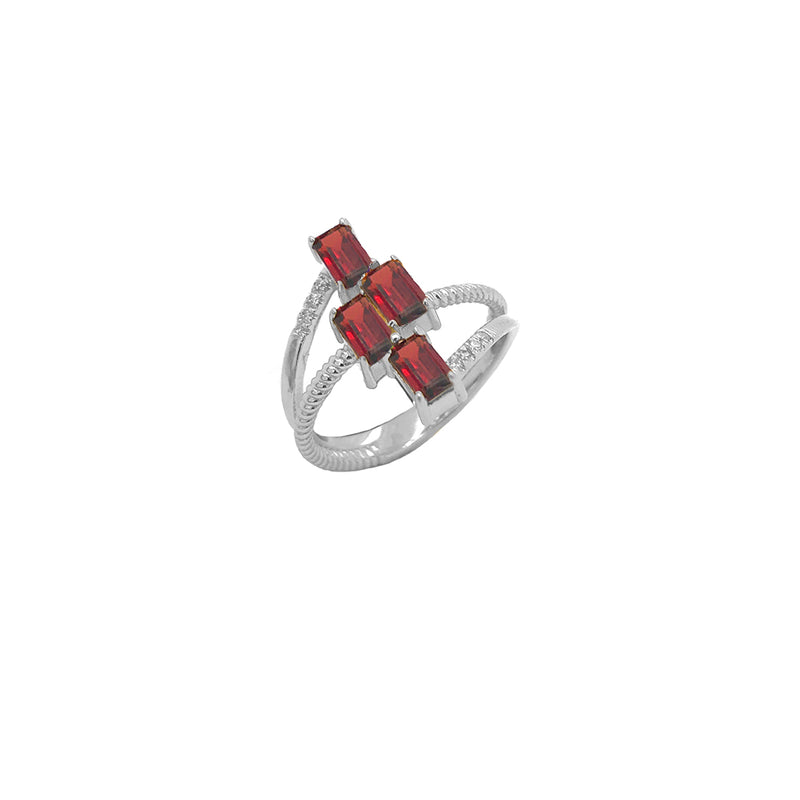 Sterling Silver Diamond & Emerald Cut Genuine Garnet Rope Statement Ring