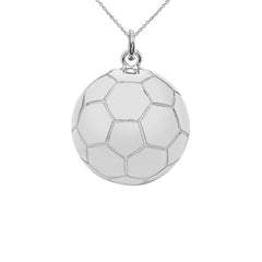 Soccer ball Sports Charm Pendant Necklace in Sterling Silver