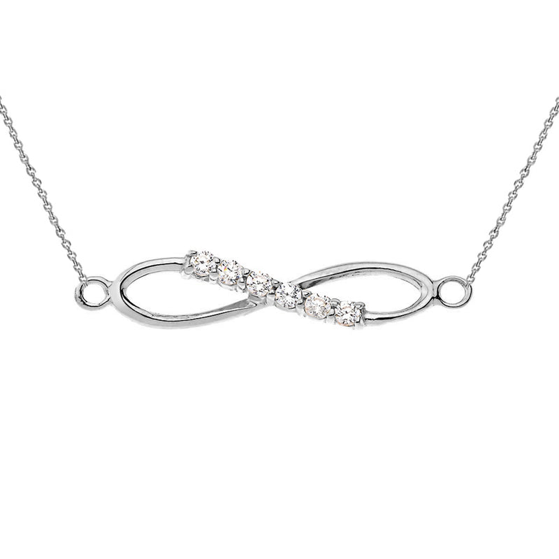 Dainty Diamond infinity Necklace in Sterling Silver