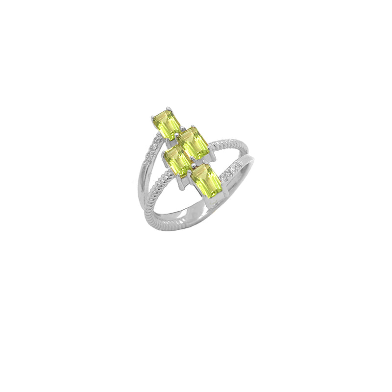 Sterling Silver Diamond & Emerald Cut Genuine Peridot Rope Statement Ring
