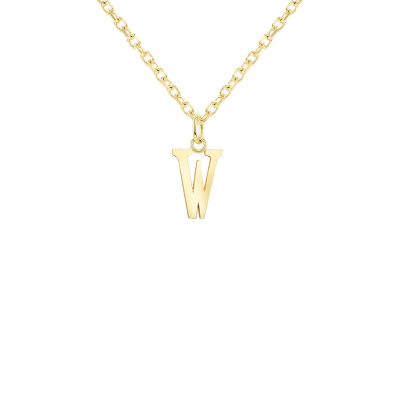 "Customizable Initial ""W"" Pendant Necklace in Solid Gold"