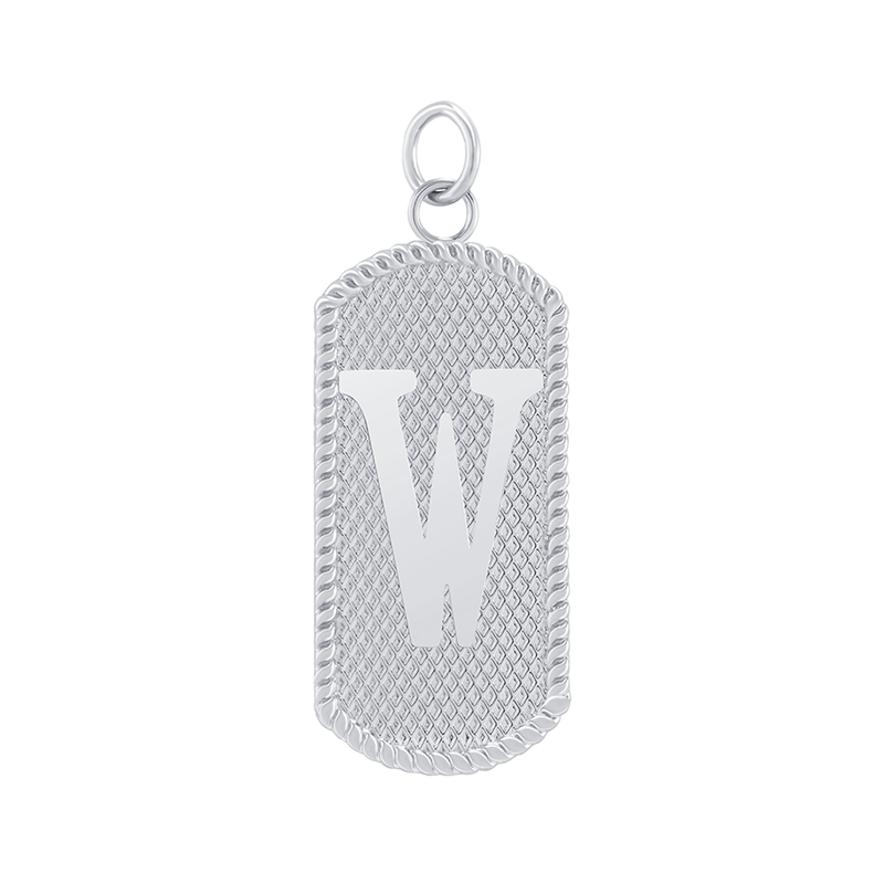"Customizable Dog Tag Initial ""W"" Necklace/Pendant in Sterling Silver"