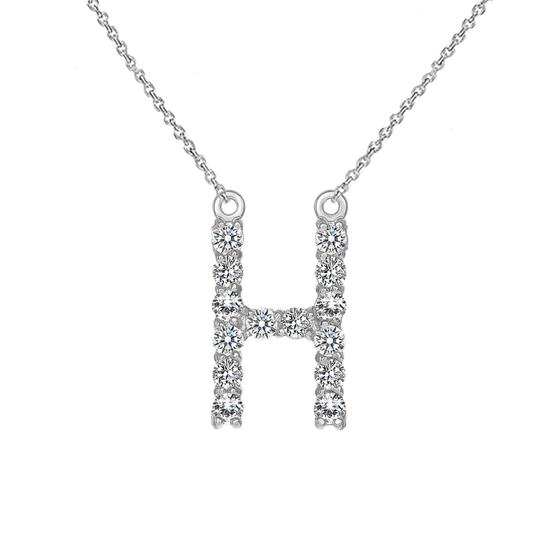 "Initial ""H"" CZ Letter Necklace in Sterling Silver"