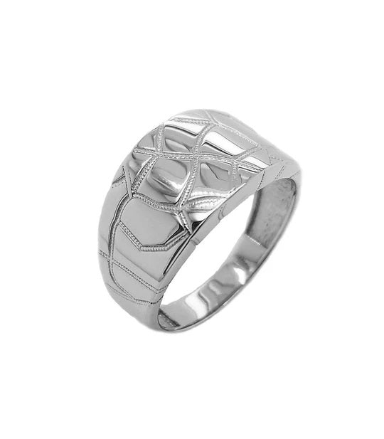Nugget Signet Mens Ring In Solid White Gold