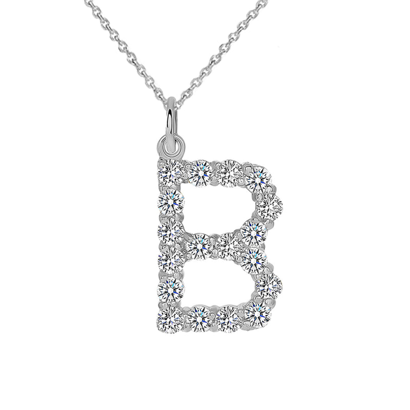 "Initial ""B"" CZ Letter Pendant/Necklace in Sterling Silver"