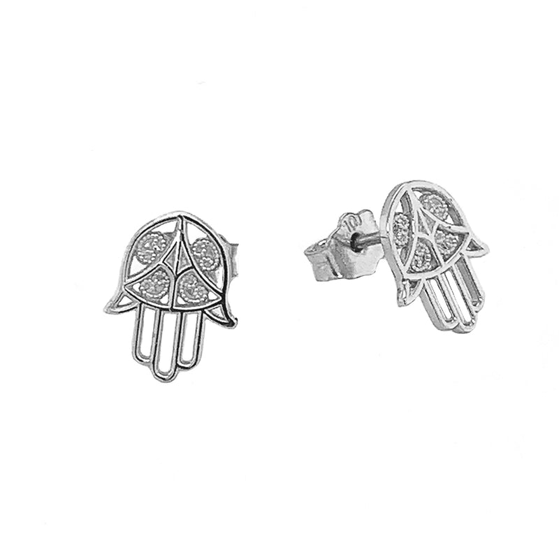 Dainty Hamsa Hand Stud Earrings in Sterling Silver