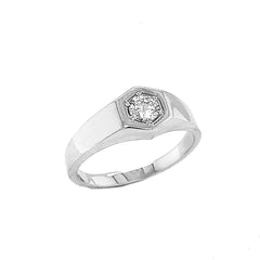 Unisex White Topaz Statement Signet Ring in Solid White Gold
