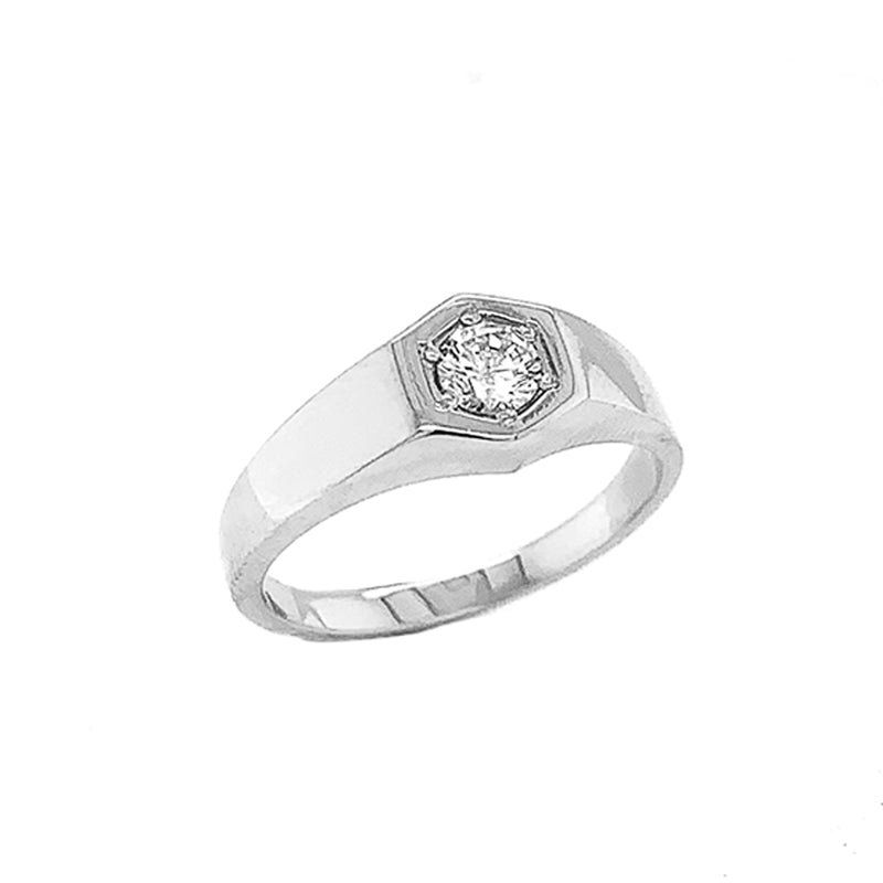 Unisex White Topaz Statement Signet Ring in Solid Sterling Silver