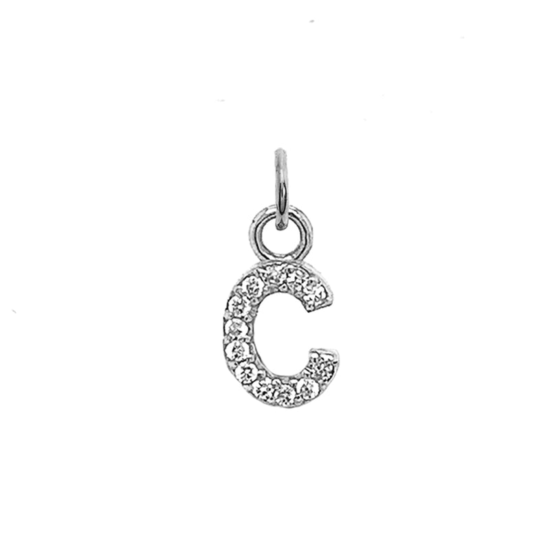 "Customizable Diamond Initial ""C"" Pendant Necklace in Solid Gold"