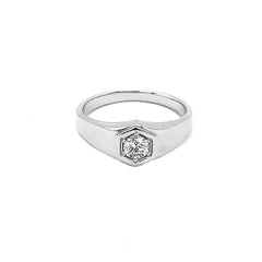 Unisex Diamond Statement Ring in Solid White Gold