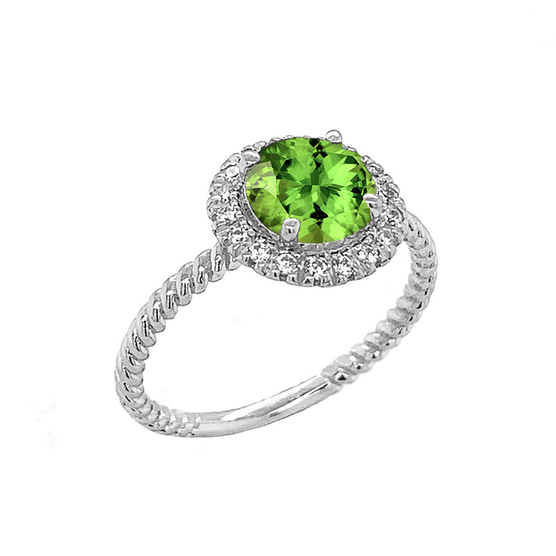Round Cut Genuine Peridot Engagement Band Ring with Diamonds In Solid White Gold
