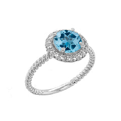 Round Cut Blue Topaz Engagement Band Ring with Diamonds In Solid White Gold
