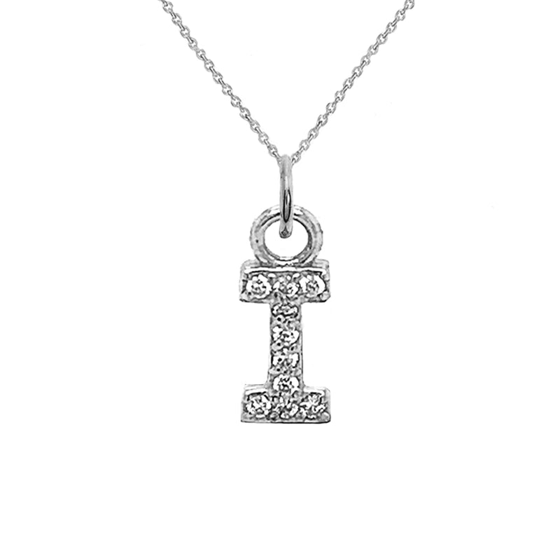 "Customizable Diamond Initial ""I"" Pendant Necklace in Solid Gold"