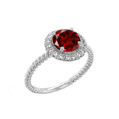 Round Cut Genuine Garnet Engagement Band Ring with Diamonds In Solid White Gold