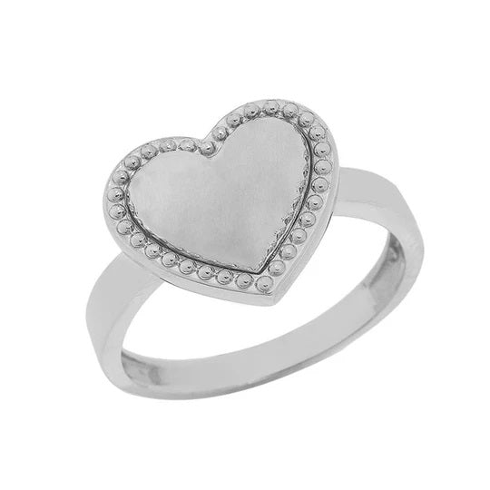 Milgrain Heart Shaped Statement Ring In Solid White Gold