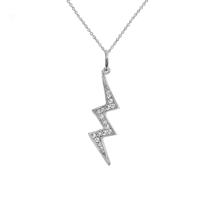 Lightning Bolt Diamond Pendant/Necklace In Sterling Silver