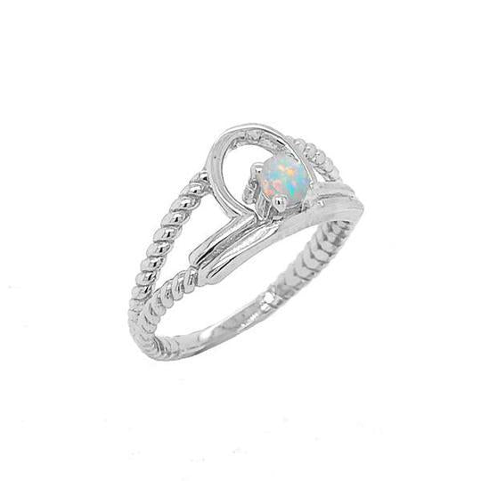Opal Gemstone Libra Zodiac Rope Ring in Solid Gold