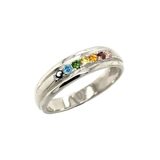 LGBTQ Rainbow Pride Wedding Band In Solid White Gold (Yellow/Rose/White)