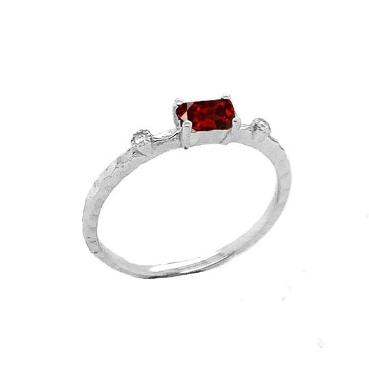 Dainty Genuine Garnet & Diamond Stackable Ring In Solid White Gold