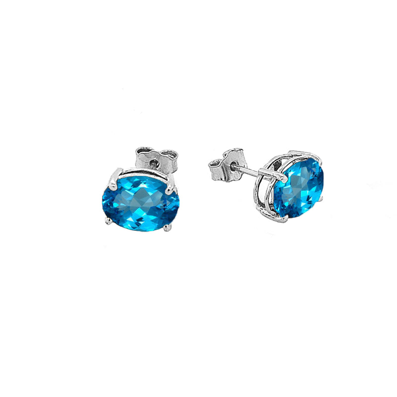 Oval-Style Stud Earrings with Genuine Birthstone in Sterling Silver (Medium Size)