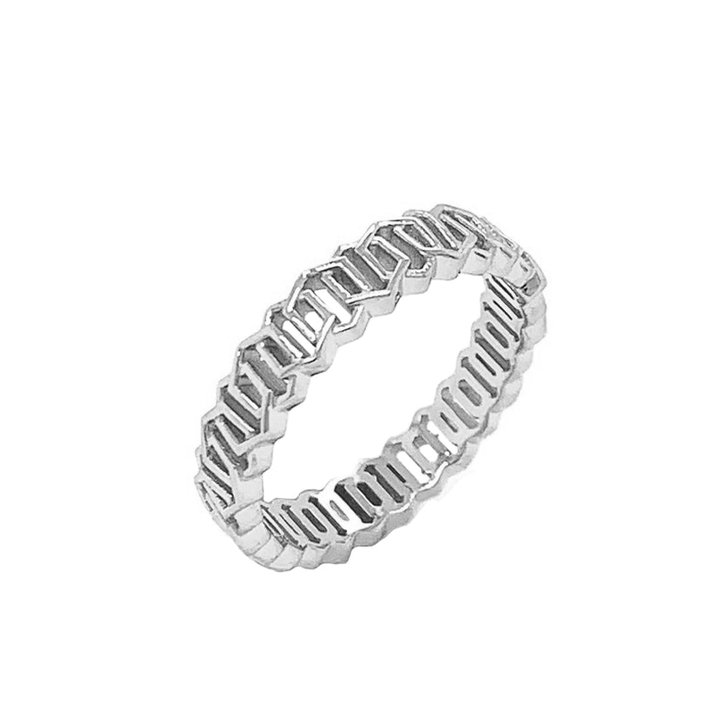 Honeycomb Link Statement Band Ring in Solid White Gold