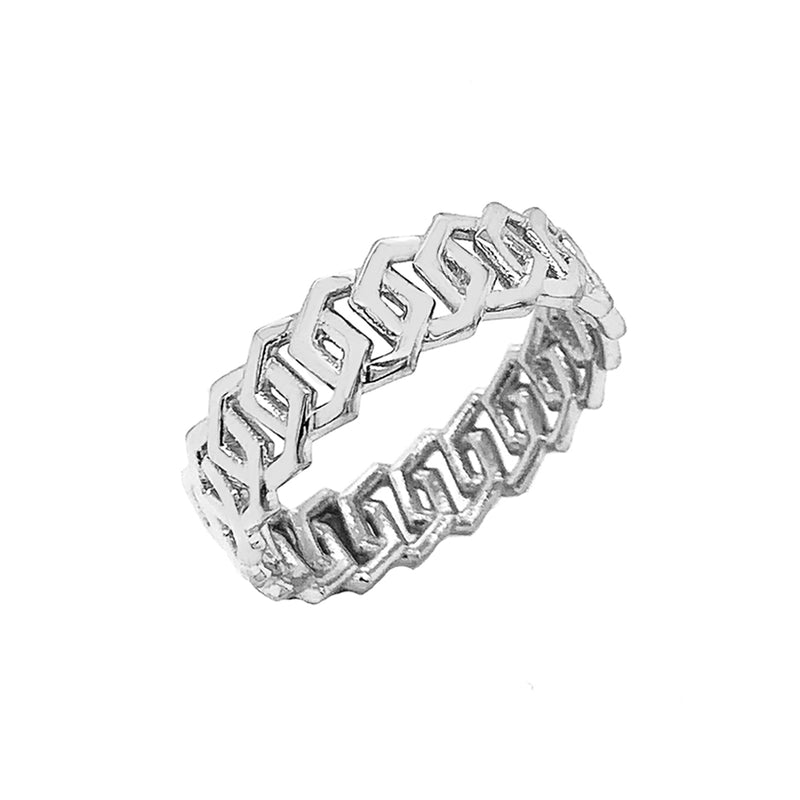 Dainty Honeycomb Link Band Ring in Solid White Gold