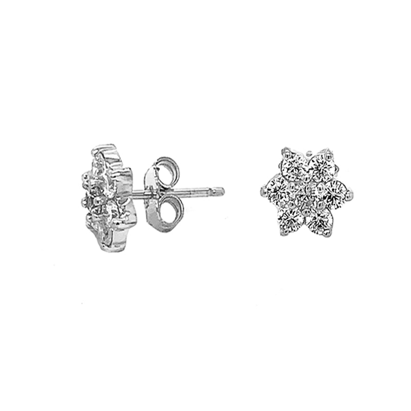Flower Cluster Stud Earrings in Sterling Silver