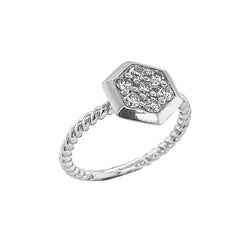 Dainty Honeycomb CZ Statement Rope Ring in Sterling Silver