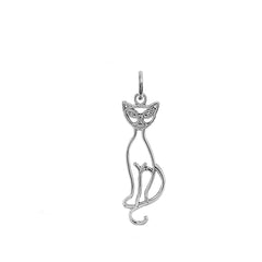 Cat Outline Pendant/Necklace in Sterling Silver