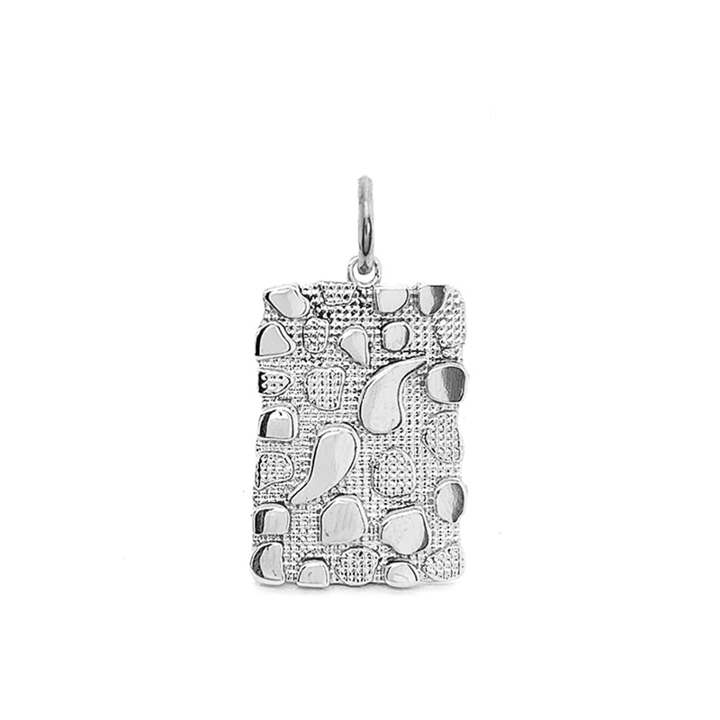 Modern Nugget Plate Pendant/Necklace in Sterling Silver