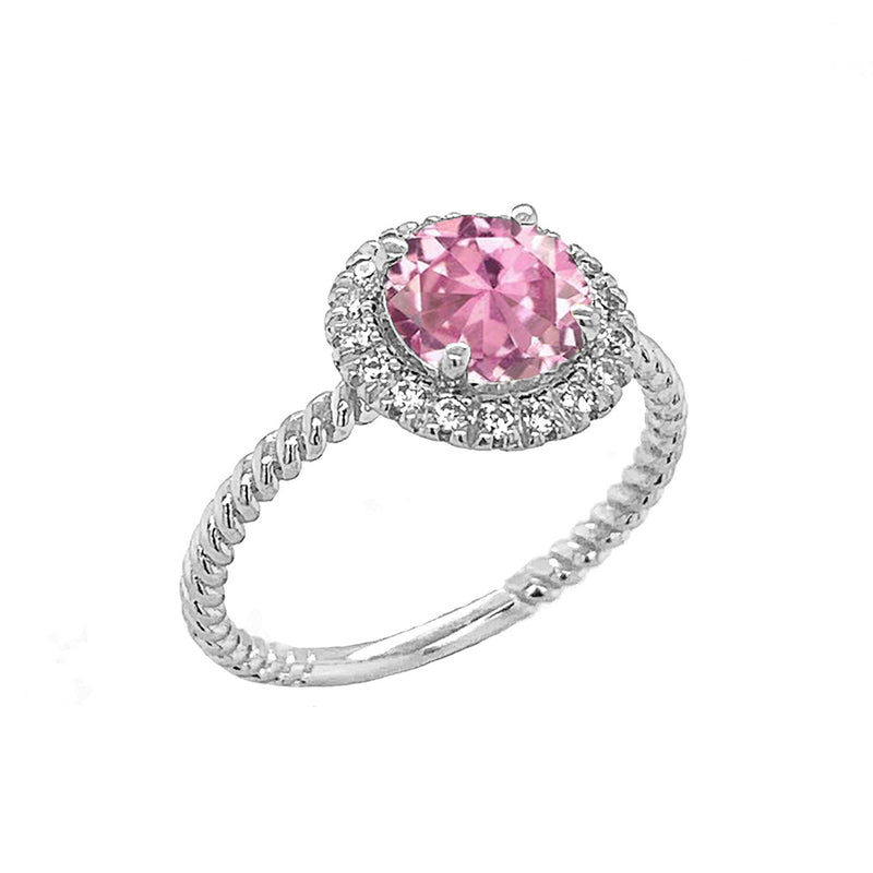 Round Cut Pink CZ Engagement Band Ring with Diamonds In Solid White Gold
