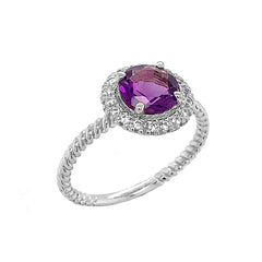 Round Cut Genuine Amethyst Engagement Band Ring with Diamonds In Solid White Gold